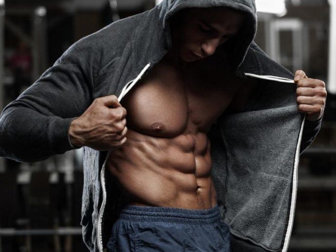 腹筋を収縮させる